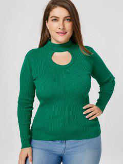 Plus Size Ribbed Cutout Mock Neck Sweater - Green 5xl