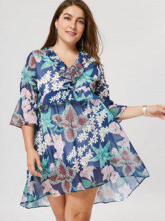 Übergröße Kleid Mit Rüschen Und Blumenmuster - 3xl