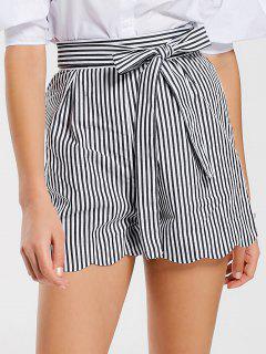 Belted Scalloped Stripes Shorts - Stripe Xl