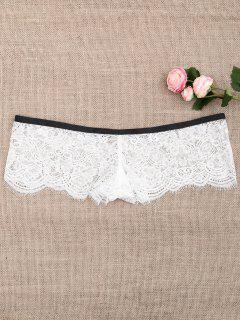 Full Lace Sheer Boxer Panties - White M