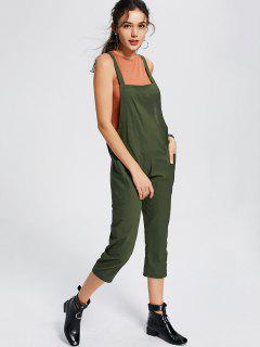 Square Collar Capri Jumpsuit With Pockets - Army Green S