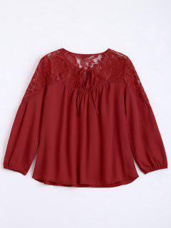 Loose Chiffon Lace Panel Bluse - Rot S