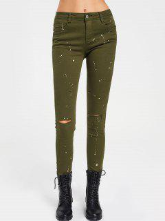 Paint Printed Pencil Pants - Army Green L