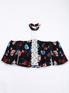 Floral Lace Trim Choker Blouse - Black L