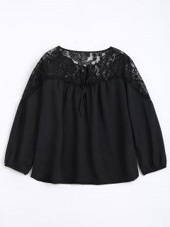 Loose Chiffon Lace Panel Blouse - Black L
