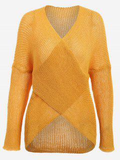 Plunging Neck Drop Shoulder Sweater - Ginger