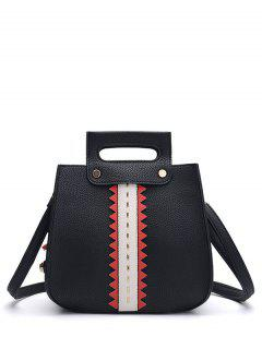 Textured Leather Colour Block Rivets Handbag - Black