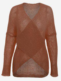 Plunging Neck Drop Shoulder Sweater - Dark Auburn