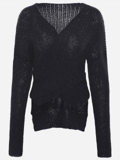 Drop Shoulder Plain Wrap Sweater - Black