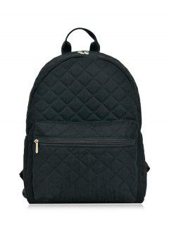 Zippers Double Pocket Quilted Backpack - Black