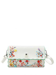 Faux Leather Embroidery Color Rivets Crossbody Bag - Off-white