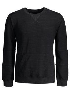 Crisscross Front Pocket Crewneck Sweatshirt - Black L
