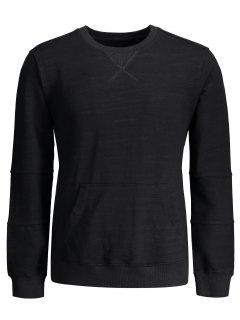 Crisscross Front Pocket Crewneck Sweatshirt - Black Xl