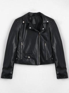 Zip Up Pockets Faux Leather Jacket - Black M