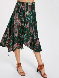 Floral Print High Waist Wrap Skirt - Floral M