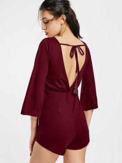 V Shaped Back Tassels Romper - Wine Red M