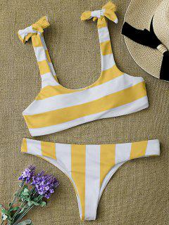 Striped Tie Shoulder Scoop Bikini Set - White And Yellow M