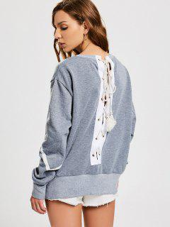 Back Lace Up Pullover Sweatshirt - Gray L