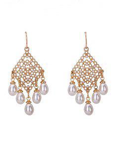 Faux Pearl Fish Hook Chandelier Earrings - Golden