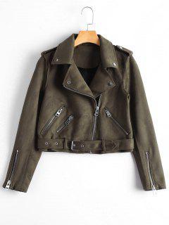 Asymmetric Zipper Belted Faux Suede Jacket - Brown S