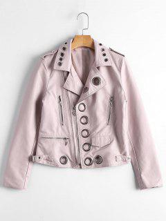 Hollow Out Ring Embellished Faux Leather Jacket - Light Pink S