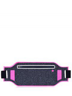Light Weight Color Block Breathable Waist Bag - Rose Red