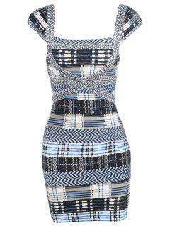 Plaid Cap Sleeve Bandage Dress - Gray Xl