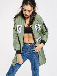 Badge Patched Zip Up Coat With Pockets - Army Green Xl