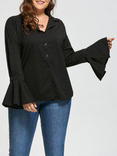 Plus Size Button Up Bell Long Sleeve Shirt - Black 5xl