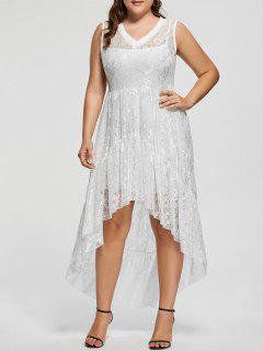 Lace High Low Plus Size Party  Dress - White 5xl