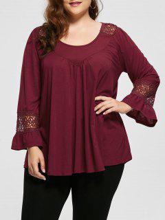 Crochet Panel Long SLeeve Plus Size Top - Wine Red 2xl