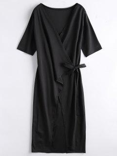 Front Slit Wrap Midi Dress - Black M