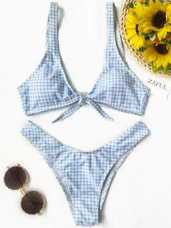 Front Tie Thong Plaid Bikini Set - Blue And White S