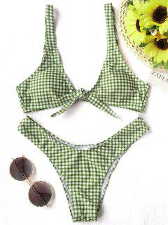 Front Tie Thong Plaid Bikini Set - White And Green M