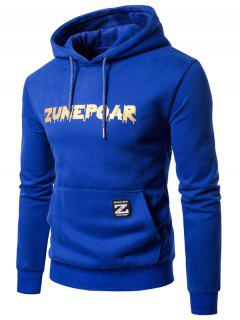 Fleece Graphic Print Pouch Pocket Hoodie - Blue M