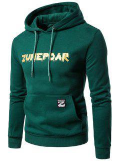 Fleece Bolsa De Impresión Gráfica Bolsillo Hoodie - Verde M