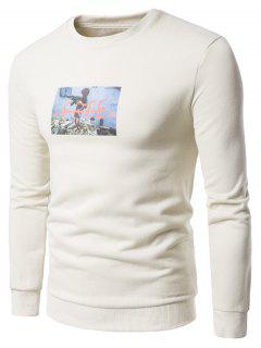 Crew Neck 3D War Boy Print Fleece Sweatshirt - Off-white 3xl