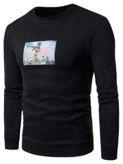 Crew Neck 3D War Boy Print Fleece Sweatshirt - Black Xl