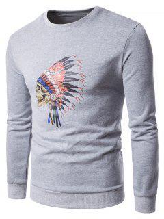 Crew Neck Skull Chief Print Fleece Sweatshirt - Light Gray L