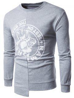 Crew Neck Graphic Print Asymmetric Panel Sweatshirt - Light Gray 3xl