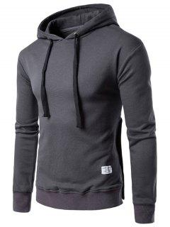 Hooded Side Button Slit Drawstring Hoodie - Deep Gray M