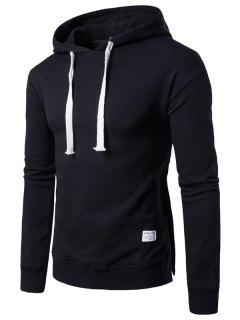 Hooded Side Button Slit Drawstring Hoodie - Black M