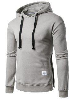 Hooded Side Button Slit Drawstring Hoodie - Light Gray 3xl