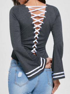 Lace Up Flare Sleeve Top - Mouse Grey M