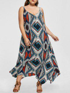 Sleeveless Tribal Print Plus Size Handkerchief Dress - Multicolor Xl