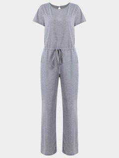 Invisible Pockets Drawstring Wide Leg Jumpsuit - Gray L
