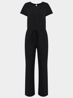 Invisible Pockets Drawstring Wide Leg Jumpsuit - Black M