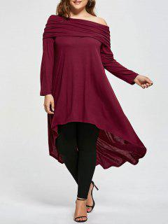 Plus Size High Low Skew Neck T-shirt - Wine Red 5xl