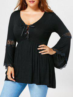 Plus Size Empire Waist Flared Sleeve T-shirt - Black 2xl