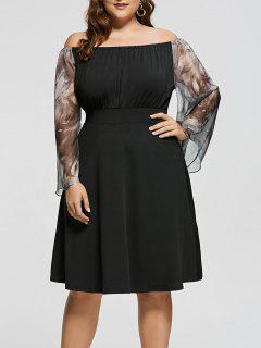 Plus Size Off Shoulder Printed Fit And Flare Dress - Black 3xl
